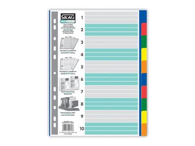 Διαχωριστικά Πλαστικά Χρωματιστά Α4 10 Θεμάτων Skag