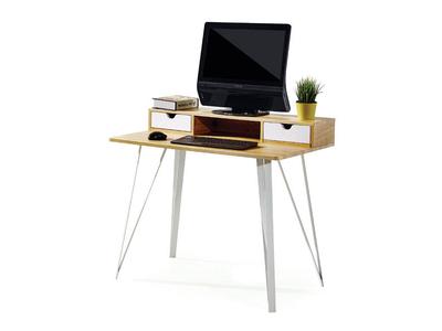 Γραφείο υπολογιστή καφέ με δυο λευκά συρτάρια