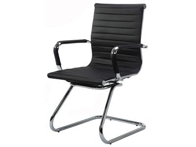 Καρέκλα επισκέπτη μαύρη με ενιαία πλάτη