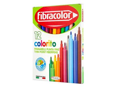 Μαρκαδόροι Λεπτοί Fibracolor 12τμχ