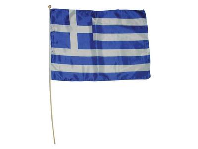 Ελληνικό Σημαιάκι Υφασμάτινο με Πλαστικό Κοντάρι