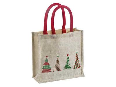 Χριστουγεννιάτικη Τσάντα Λινάτσα με Κοντό Χερούλι