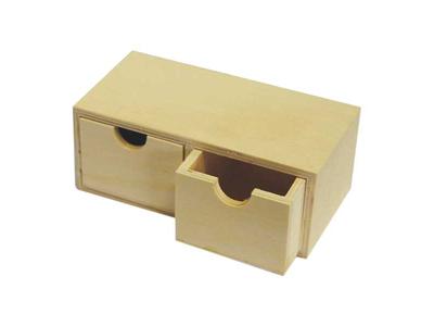 Κουτί Ξύλινo με Δύο Συρτάρια