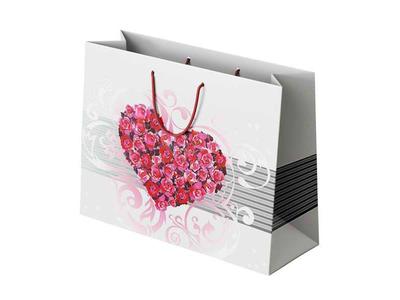 Χάρτινη Σακούλα Καρδιά με Τριαντάφυλλο