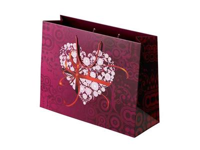 Χάρτινη Σακούλα Ροζ Καρδιά με Κορδέλα