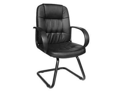 Καρέκλα Γραφείου Επισκέπτη Μαύρη Δερματίνη