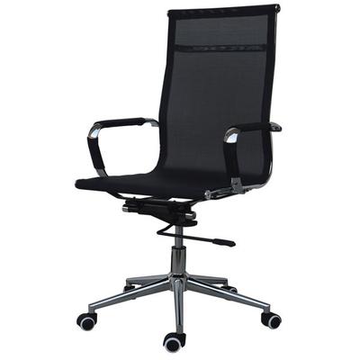 Καρέκλα διευθυντική τροχήλατη μαύρη με ενιαία πλάτη