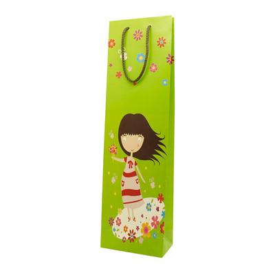 Χάρτινη Σακούλα Λαμπάδας Κοριτσάκι με Λουλούδια
