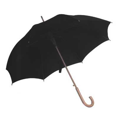 Ομπρέλα Αυτόματη με Ξύλινη Λαβή Ø105εκ ΜΑΥΡΟ