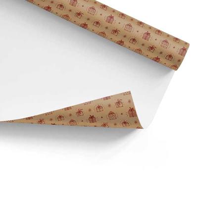 Χαρτί Περιτυλίγματος Χριστουγεννιάτικο Κραφτ Κουτί Δώρου