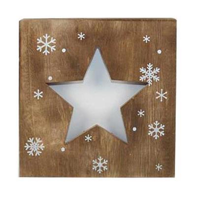 Χριστουγεννιάτικο Ξύλινο Καδράκι Φωτιζόμενο Αστέρι